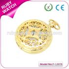 gold hollow pocket watch promotional metal unisex necklace quartz pocket watch