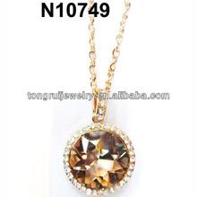 large floating round crystal stone necklace
