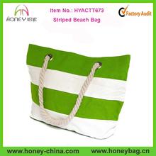 Fashion Design Striped Beach Tote Bag Tropical Lime And White Cotton Canvas Striped Beach Bag