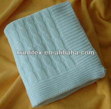 Fat Acrylic Cable Knitting Throw Blanket