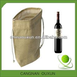 factory direct printed drawstring jute wine bag