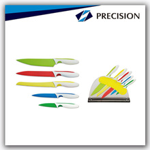 6pcs TPR handle kitchen knife set with acrylic block