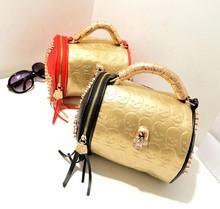 2014 Fashion Bags Handbag Women Bag Skull Tassel Rivet Bucket Bag for Wholesale and Retail