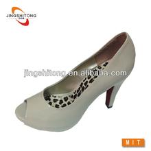 Open toe stiletto high heel ivory dress shoes