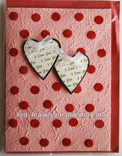 Handmade manufacture love heart shape design fancy birthday greeting card