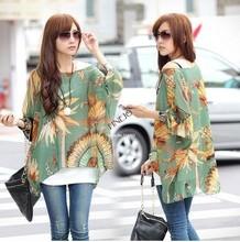 2014 New Fashion Bohemian Style Batwing Sleeve Printed Loose Shirt Chiffon Blouse Tops For Women 19694