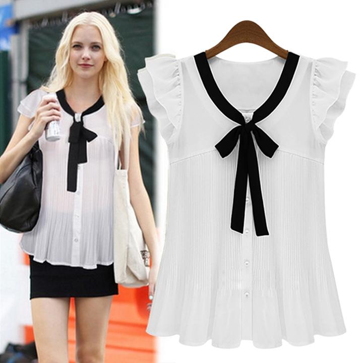 2014 Fashion Elegant designer Short Sleeve Chiffon Blouse Shirt Tops