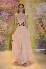 Free shipping CW1758 2014 Fashionable beaded chiffon princess style evening dress peach color