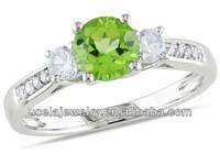 10k White Gold Peridot and White Sapphire imitation Diamond Accent Ring gold wedding ring sets