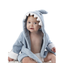 Baby Aspen Baby Blue Terry Shark bath robe hodded beach towel