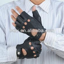 men's fingerless deer skin motorcycle glove with snap closure at wrist