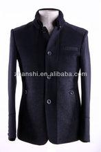 Turkey Designer Stand Collar Slim Fit Black Mens Woolen Coats