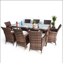 8 Seater + 1 Table Rattan Garden Furniture Chairs Set Outdoor Wicker brown