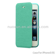 Hot sale wallet book leather skin case for iphone 5