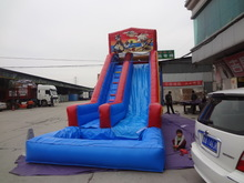 Commercial grade 18ft tall inflatable water slides with a pool in front