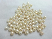 Fresh Water Pearl White Potato 6.5-7mm with 1.3mm half drill