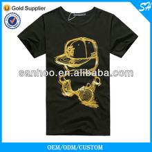 100% Cotton Custom Logo Fashion Black T Shirt Gold Blocking