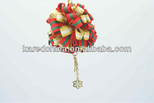 cute key chain parts and accessories stripe ribbon ball fashion girl&ladies bag