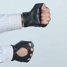 men's fingerless deerskin motorcycle glove with snap closure on wrist