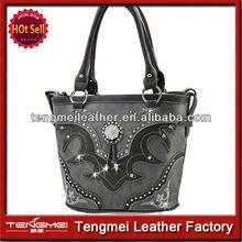 lady western leather studded bling handbag with rhinestones