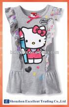Summer Hot sale Adorable hello kitty sleeveless Gray dress
