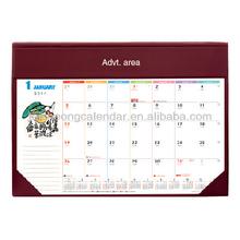 PVC Leather Desk Mat Planner with full color calendar content