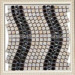 Creative modern wall wave glass mix natural stone mosaic supplies