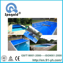 Swimming pool cover with inwall track under mech driver
