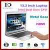 thin I7 Laptop 13.3 inch Notebook computer Dual Core 1.90Ghz,Quad Threads,8GB RAM& 128GB SSD,8400mAh Battery,Windows 8 os