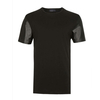 Blank tshirt with leather sleeves black tshirt