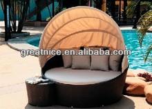 2014 New Style Rattan Outdoor Round Daybed Garden Wicker Furniture