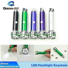 Custom electronic logo Mini Flashlight Keychain aluminum alloy green transparent circle led Keychain carabiners