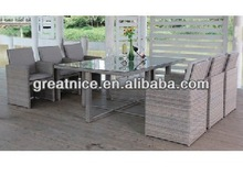 2014 Plastic Outdoor Chairs 6 seat PE Wicker Dining Table and Chairs Set
