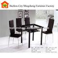 Moderne design en verre tube métallique jambes petit carré table à manger
