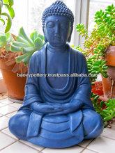 Blue Buddha Statue - Light cement, stone Buddha Statue, Glazed Outdoor Buddha Statue