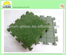 Kids' friendly safe interlocking artificial grass decking tiles