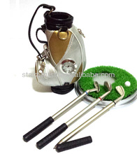 Golf Club Pen Set with Clock , Features Three Pens in Shape of Golf Clubs & A Clock on the Golf Bag