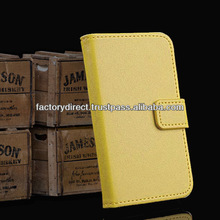 New Leather Flip Case Cover Pouch Bumper Wallet for iPhone 5 5S 5C 5G Yellow Best Quality