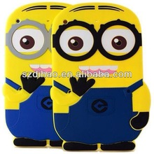 New Arrival Hot Selling Despicable Me 2 Minion Cartoon Cute 3D Silicone Shell Back Cover Case For Apple iPad 2 3 4