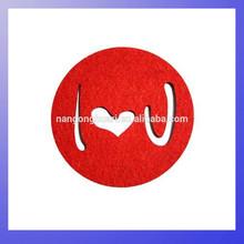 Valentine's day red heart shape Felt coaster