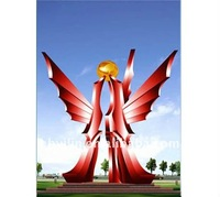 Beautiful and colorful butterfly Urban Stainless steel sculpture