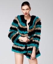 2014 europea lusso 2014 coniglio donne cappotto di pelliccia lavorato a maglia in più dimensioni e giacca di pelliccia per le signore inverno