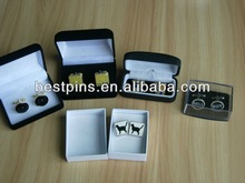 Various metal cufflink with gift box, enamel cuff link with tie pin set
