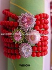 Red Beads wth Cubic Zirconia Bracelet