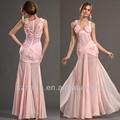 Jm. Bridals cy1989 shealth de color rosa con cuentas apliques corsé de gasa vestido de noche largo 2014