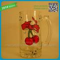 Baratos cherry& seaman personalizado decalque de vidro branco promocionais dom de vidro copo de cerveja caneca
