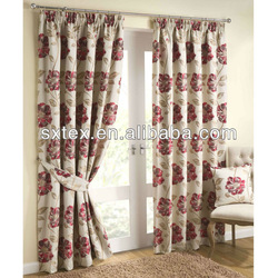 Downton Red Cream Lined Curtains