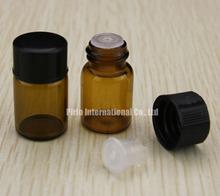 5/8 dram small glass amber vial with black screw cap & plastic orifice reducer