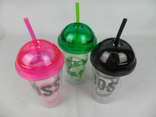 2014 new plastic double wall cup with dome lid and straw