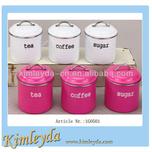 Typhoon Vintage Kit Spray Powder 3pcs iron Tea Sugar Coffee Canister